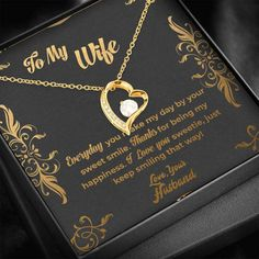 Impress your Wife with this Unique Handmade Forever Love Heart Necklace with Free Gift Box. An ideal Gift for a Birthday, Anniversary or just because!  This sweet and dainty necklace is a special way to make her feel loved! Imagine the look on her face when she sees this beautiful Heart Pendant with our custom message card!