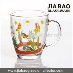 Factory 360ml Garden Flower Printing Coffee Glass Mug