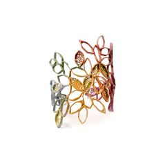 Portfolio   Tsimpiskaki Maria Laced swarm   Bracelets Sterling silver or brass, 22Κ gold foil, pigment.
