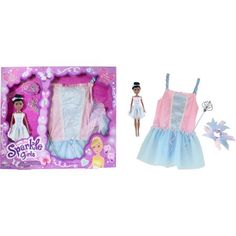 Funville Sparkle Girlz Doll with Dress Up, African American, Ballerina, Multicolor