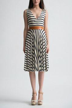 Little French Stripe Cross Over Dress Front