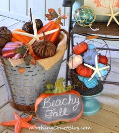 Have a Beachy Fall Y'All. This beach condo is all decked out for the Autumn season. Featured on BBL: http://beachblissliving.com/blue-and-orange-fall-decor/
