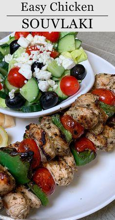 Recipe Using Chicken, Greek Chicken Recipes, Greek Recipes, Healthy Chicken Recipes, Healthy Dinner Recipes, Souvlaki Marinade, Souvlaki Recipe, Epicure Recipes, Cooking Recipes