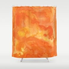 Watercolor Orange Shower Curtain