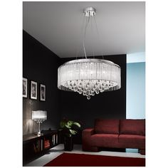 Spirit 600mm 8lt Pendant Chrome finish 8 light pendant with small crystal drops inside a lurex fabric shade with glass rod drops #ideas4lighting #clanyrelighting #pendants #tablelamps #art #design #floorlamps #eglo #2017 #ceilinglights #lighting #crystal #chrome #diamonds #cafe #restaurant #business #lights #future #outdoorlighting #outdoor #follow4follow
