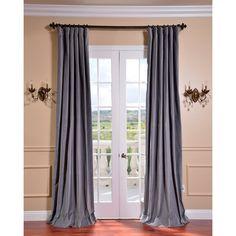Chinchilla Grey Vintage Cotton Velvet Curtain | Overstock.com