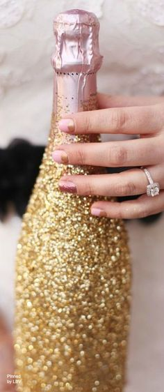We need this glam champagne bottle at every party! Champagne Party, Pink Champagne, New Years Party, New Years Eve, Merry Christmas Darling, Christmas Bells, Shimmer N Shine, Sparkles Glitter, Gold Sparkle