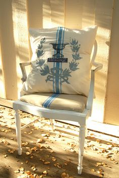faux grain sack pillow and chair @Cecilia Rosslee