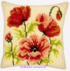 Vervaco Poppies Cross Stitch Cushion, Multi-Colour