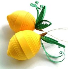 Lemon Yellow Ornaments Paper Quilled. $22.00, via Etsy.