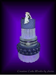 Purple & Silver Wedding Cake