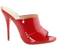 Who can't resist a sexy High Heel Red Patent Slide? #highheels  #sandals #highheelshoes