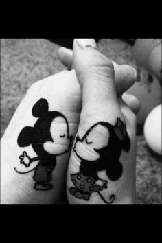 Cute Mickey and Minnie tatto