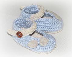 Moje pastelowe handmade ...: Błękitne szydełkowe balerinki.