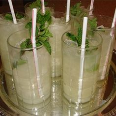 Alcohol-Free Mint Julep Recipe  1/4 cup water 1/4 cup white sugar 1 tablespoon chopped fresh mint leaves 2 cups crushed ice 1/2 cup prepared lemon Fresh mint sprigs, for garnish