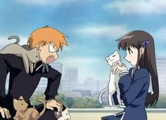 """Tohru: """" They are so cute!!!"""" Kyo:"""" NO THEY ARE NOT!!! HOW WOULD YOU FEEL IF YOU HAD CATS FOLLOWING YOU AROUND ALL THE TIME!!!"""" one of my favorite parts in fruits basket :D"""