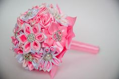 Result image for подушечка Канзаши Diy Bouquet, Flower Bouquets, Ribbon Crafts, Wedding Bouquets, Hair Accessories, Ribbon Flower, Invitations, Gifts, Image