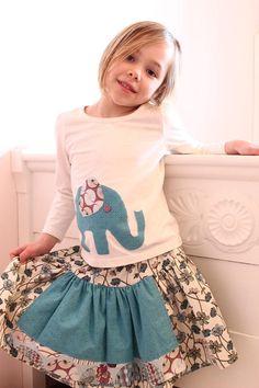 Girls skirt Twirl skirt apron front twirl by ElsiHandmadeWithLove