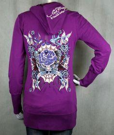 Ed Hardy Tunic Hoodie Purple Butterfly LOVE   ROSES NEW  EdHardy  Hoodie   Casual d2ac988304dea