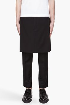 Givenchy black fine wool skirt panels.
