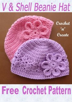 Crochet this free baby beanie hat pattern to match my collared baby coat, it is written in UK format and is designed to fit an approx month baby. CLICK and scroll down the page for the pattern.Baby Beanie Hat UK - This sweet and cute V and shell hat Crochet Baby Hats Free Pattern, Baby Girl Crochet, Crochet Baby Clothes, Free Crochet, Crocheted Baby Hats, Easy Crochet Baby Hat, Crochet Hats For Babies, Crochet Baby Headbands, Knit Baby Hats