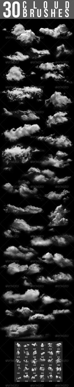 30 Cloud Brushes  #GraphicRiver        30 Cloud Brushes Included file formats:   .abr (Photoshop Brush File)  .abr (Photoshop CS6 Brush File)  .png (30 Source Files, 2500×2500 Pixel, transparent, 300dpi)  .pdf (Tutorial: How to install photoshop brushes   .............................................................................................................. More Hot Brush Sets – Essential Action Brushes        Created: 16August13 Add-onFilesIncluded: TransparentPNG Tags: blue #brush…