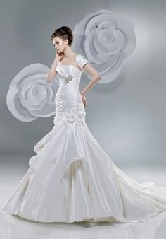 Mermaid Square or Ravello Taffeta Chapel wedding Dress Style 2201ab $392.99 Anjolique Bridal