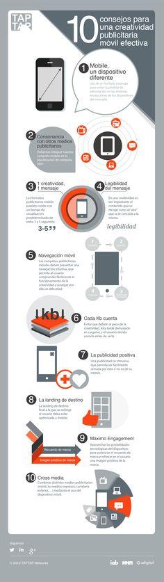 """""""10 consejos para una creatividad publicitaria móvil efectiva"""" #infografia"""