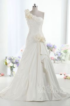 Hot Selling A-Line One Shoulder Dropped Train Taffeta Ivory Sleeveless Lace Up-Corset Wedding Dress with Pleating h1ee0035