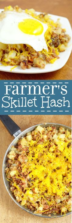 Farmer's Breakfast Skillet Recipe - an easy hearty breakfast recipe idea with potatoes ham bacon and veggies topped with cheese and eggs. We love this recipe for brinner too! Breakfast Skillet, Breakfast Time, Breakfast Dishes, Breakfast Casserole, Best Breakfast, Breakfast Recipes, Breakfast Ideas, Breakfast Hash, Second Breakfast