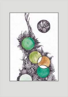Mixed media watercolor abstract drawing Green circles art
