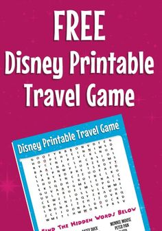 """Free Disney Printable Travel Game - Eliminate or at least reduce the """"I'm bored"""" and """"Are we there yet""""? comments from the kids by bringing this fun and FREE Disney word search to keep them entertained while traveling."""