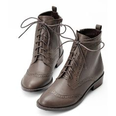 Brown Leather Flat Lace Up Fashion Dress Doc Martens Boots for Women SKU-143375