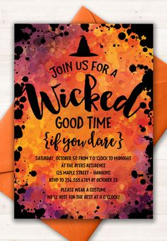 Halloween Invitation, Halloween Party, Halloween Party Invite, Costume Party…