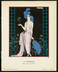 """La Roseraie - Robe du Soir, de Worth,"" plate 21 from Gazette du Bon Ton, Volume 1, No. 3  French, April 1922"