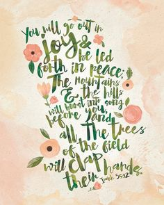 Isaiah 55:12 Watercolor Typography Bible Verse by InkLaneDesign
