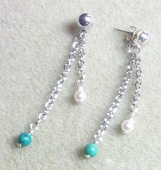 Turquoise & Crystal Pearl Dangle Earrings