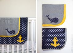 Knit Receiving Blankets for BABY BOYS! (templates included…) - love the colors and the simple designs.
