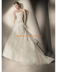 2013 Luxuriöse Brautmode aus Organza und Satin mit Schleppe und Korsage