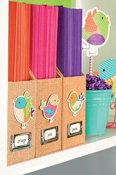 We love the pop of color these folders give when using neutral file holders! This is an easy way to change your classroom decor every season.