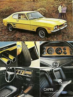 Items similar to 1972 Ford Sport Coupe Capri Car Ad Yellow Automobile Photo Vintage Advertising Print Garage Wall Art Decor on Etsy Ford Capri, Ford Sport, Mercury Capri, Pub Vintage, Vintage Cars, Ford Motor Company, Opel Gt, Audi, Bmw Autos