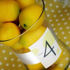 Yellow Wedding Table Number & Centerpiece Decoration - Vase filled with Lemons