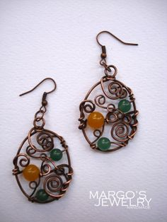 FREE SHIPPING Copper wire handmade earrings natural by MargosGlow, $28.00