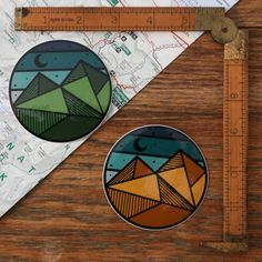 Vinyl Sticker Geo-Circle by BorealisAdventureCo on Etsy Hard Hat Stickers, Cute Stickers, Laptop Stickers, Trendy Tattoos, New Tattoos, Circle Drawing, Adventure Company, Mountain Tattoo, Animal Tattoos