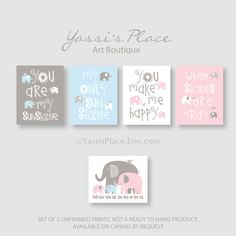 Twin Wall Art You Are My Sunshine  Blue Pink and by YassisPlace, $39.99