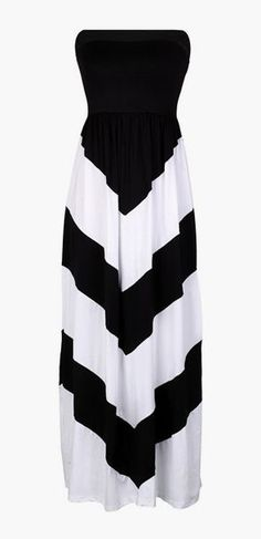 Striped Strapless Maxi Long Chevron Tube Dress