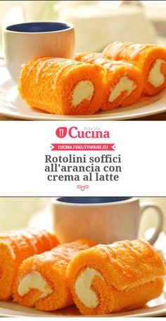Rotolini soffici all'arancia con crema al latte Ice Cake, Cake & Co, Desserts To Make, Mini Desserts, Sweet Recipes, Cake Recipes, Latte, Pumpkin Smoothie, Different Cakes