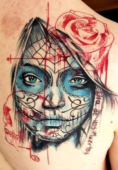 Realism Muerte Tattoo by Jacob Pedersen - http://worldtattoosgallery.com/realism-muerte-tattoo-by-jacob-pedersen/