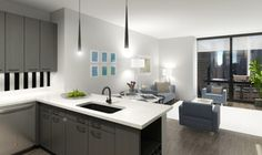 Floor Plan Rendering For A One Bedroom Apartment Experience73 In Chicago IL