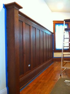 Stained Solid Wood Wainscoting